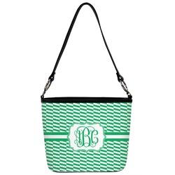 Zig Zag Bucket Bag w/ Genuine Leather Trim (Personalized)