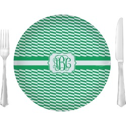 """Zig Zag 10"""" Glass Lunch / Dinner Plates - Single or Set (Personalized)"""
