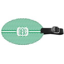 Zig Zag Genuine Leather Oval Luggage Tag (Personalized)