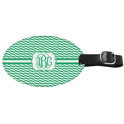 Zig Zag Genuine Leather Oval Luggage Tag (Personalized)