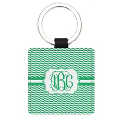 Zig Zag Genuine Leather Rectangular Keychain (Personalized)