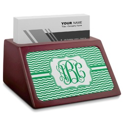 Zig Zag Red Mahogany Business Card Holder (Personalized)