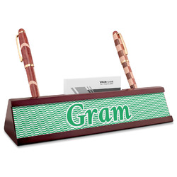 Zig Zag Red Mahogany Nameplate with Business Card Holder (Personalized)