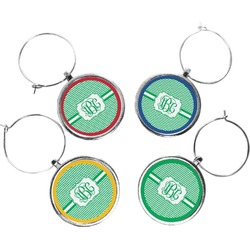 Zig Zag Wine Charms (Set of 4) (Personalized)