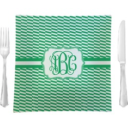 """Zig Zag 9.5"""" Glass Square Lunch / Dinner Plate- Single or Set of 4 (Personalized)"""