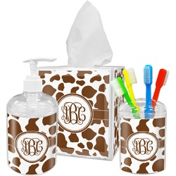 Cow Print Bathroom Accessories Set (Personalized)