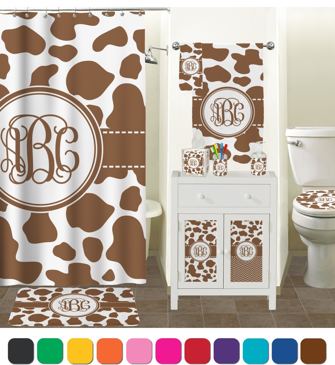 Cow Print Shower Curtain Personalized You Customize It
