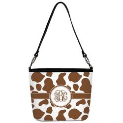 Cow Print Bucket Bag w/ Genuine Leather Trim (Personalized)