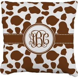 Cow Print Faux-Linen Throw Pillow (Personalized)