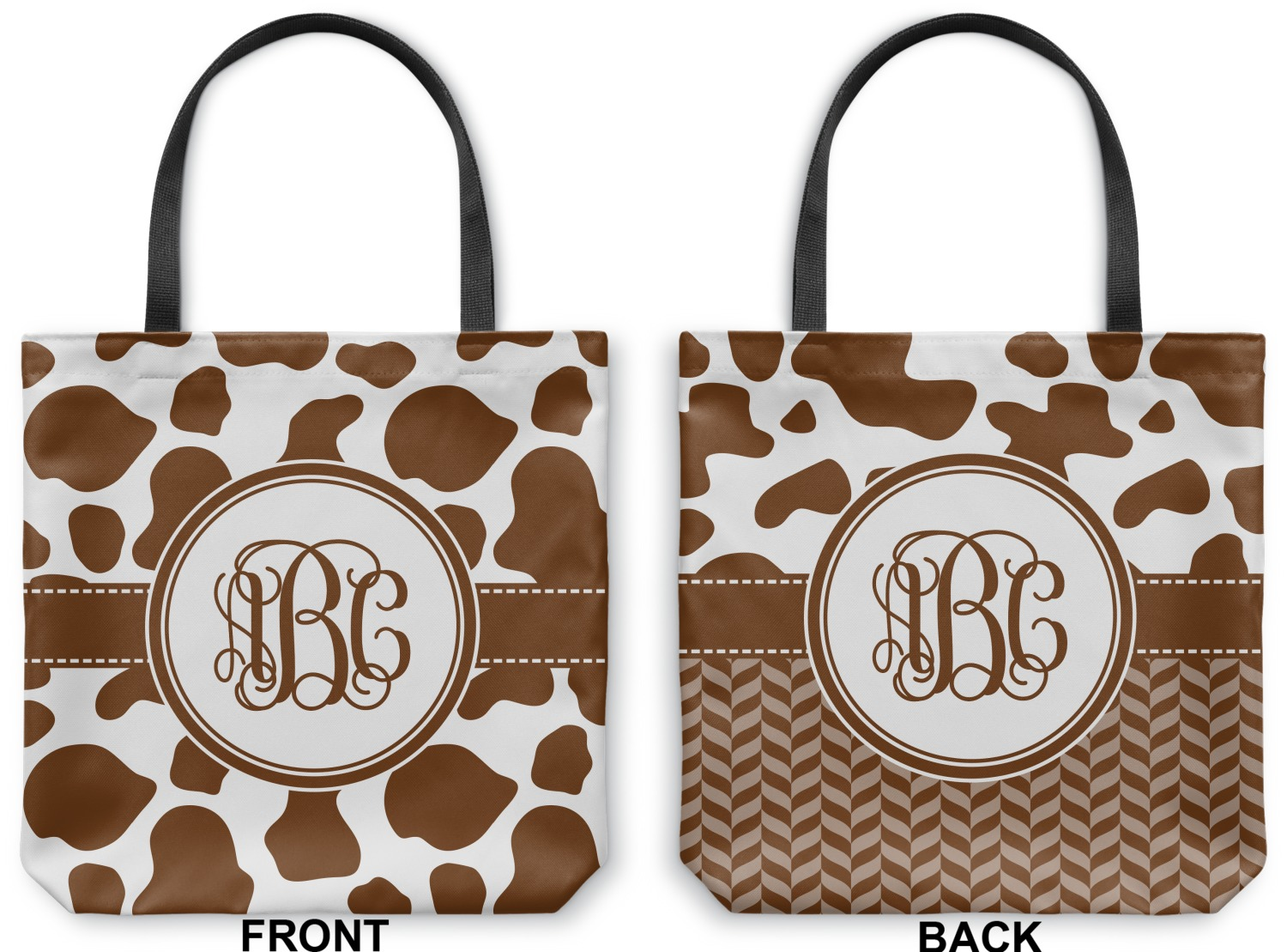 cow print canvas tote bag  personalized