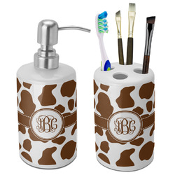 Cow Print Bathroom Accessories Set (Ceramic) (Personalized)