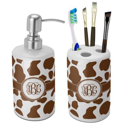 Cow Print Bathroom Accessories Set (Ceramic) (Personalized)