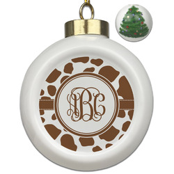 Cow Print Ceramic Ball Ornament - Christmas Tree (Personalized)