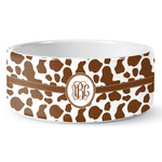 Cow Print Ceramic Dog Bowl (Personalized)