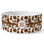 Cow Print Ceramic Dog Bowl (Personalized)