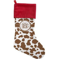 Cow Print Christmas Stocking - Single-Sided (Personalized)