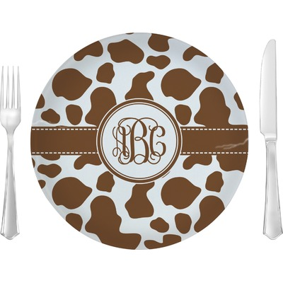 """Cow Print 10"""" Glass Lunch / Dinner Plates - Single or Set (Personalized)"""