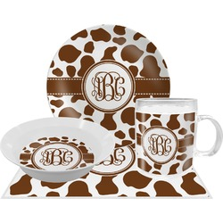 Cow Print Dinner Set - 4 Pc (Personalized)