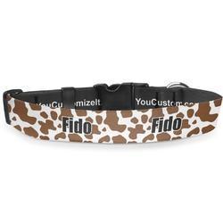"Cow Print Deluxe Dog Collar - Large (13"" to 21"") (Personalized)"