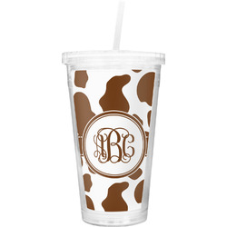 Cow Print Double Wall Tumbler with Straw (Personalized)