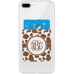 Cow Print Genuine Leather Adhesive Phone Wallet (Personalized)