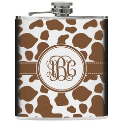 Cow Print Genuine Leather Flask (Personalized)