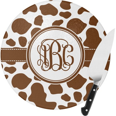 Cow Print Round Glass Cutting Board (Personalized)