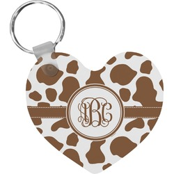Cow Print Heart Keychain (Personalized)