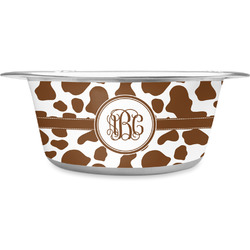 Cow Print Stainless Steel Dog Bowl (Personalized)