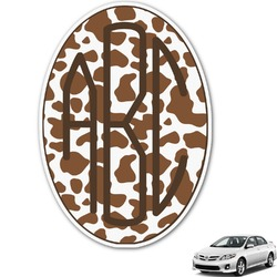 Cow Print Monogram Car Decal (Personalized)