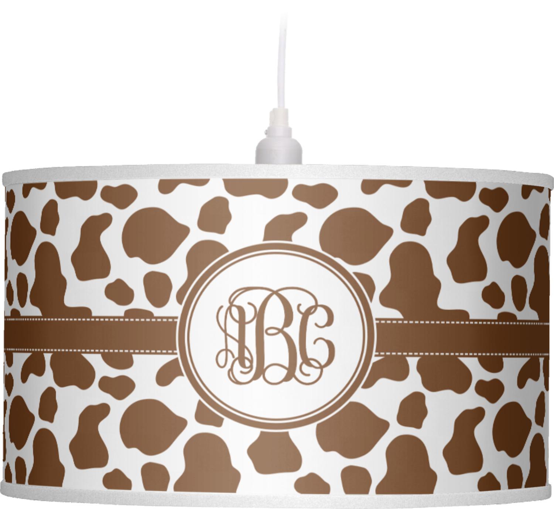 Cow print drum pendant lamp personalized youcustomizeit cow print drum pendant lamp personalized aloadofball Gallery