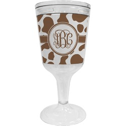 Cow Print Wine Tumbler - 11 oz Plastic (Personalized)
