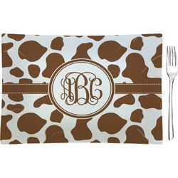 Cow Print Glass Rectangular Appetizer / Dessert Plate - Single or Set (Personalized)