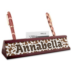 Cow Print Red Mahogany Nameplate with Business Card Holder (Personalized)