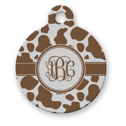 Cow Print Round Pet ID Tag (Personalized)