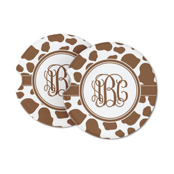 Cow Print Sandstone Car Coasters (Personalized)