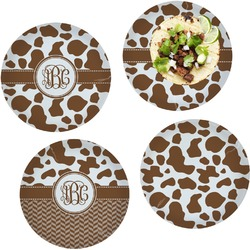 """Cow Print Set of 4 Glass Lunch / Dinner Plate 10"""" (Personalized)"""