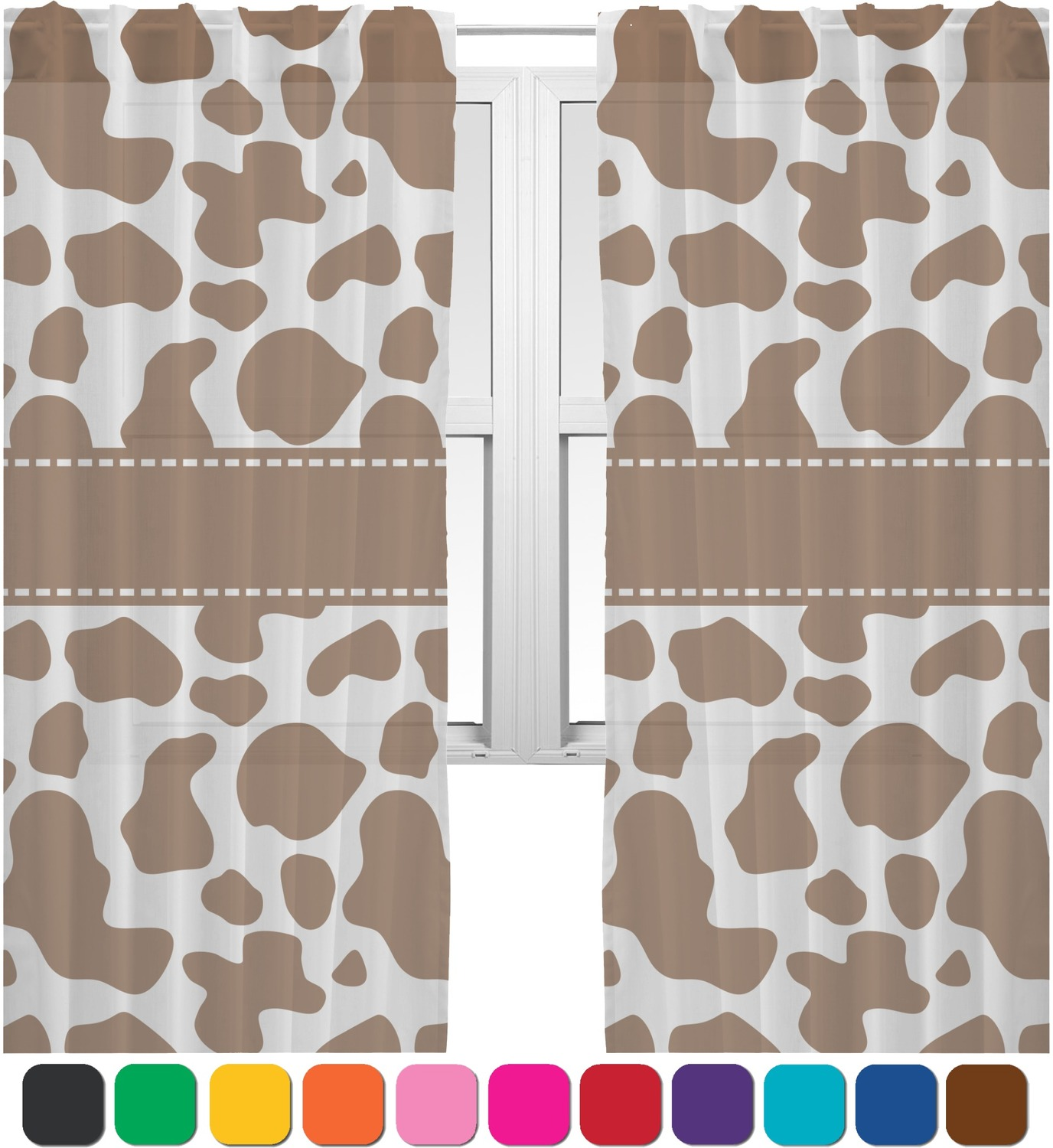 Cow Print Sheer Curtains Personalized