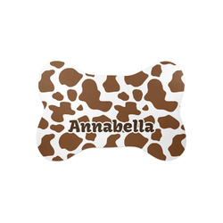 Cow Print Bone Shaped Dog Food Mat (Small) (Personalized)