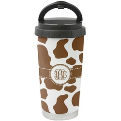 Cow Print Stainless Steel Travel Mug (Personalized)