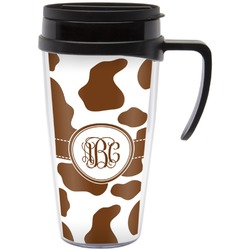 Cow Print Travel Mug with Handle (Personalized)