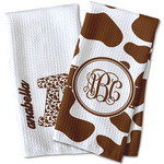 Cow Print Waffle Weave Kitchen Towel (Personalized)