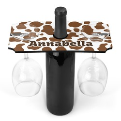 Cow Print Wine Bottle & Glass Holder (Personalized)