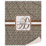 Leopard Print Sherpa Throw Blanket (Personalized)
