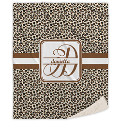 "Leopard Print Sherpa Throw Blanket - 50""x60"" (Personalized)"