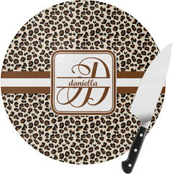 Leopard Print Round Glass Cutting Board - Small (Personalized)
