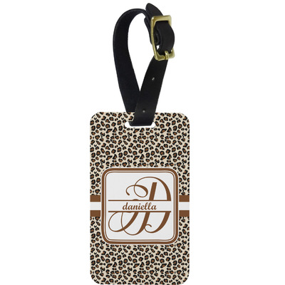 Leopard Print Metal Luggage Tag w/ Name and Initial