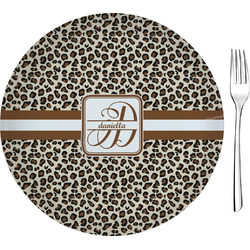 "Leopard Print Glass Appetizer / Dessert Plates 8"" - Single or Set (Personalized)"
