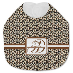 Leopard Print Jersey Knit Baby Bib w/ Name and Initial