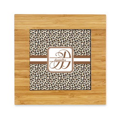Leopard Print Bamboo Trivet with Ceramic Tile Insert (Personalized)